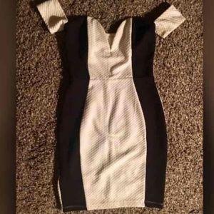 Black White Deep V Dress
